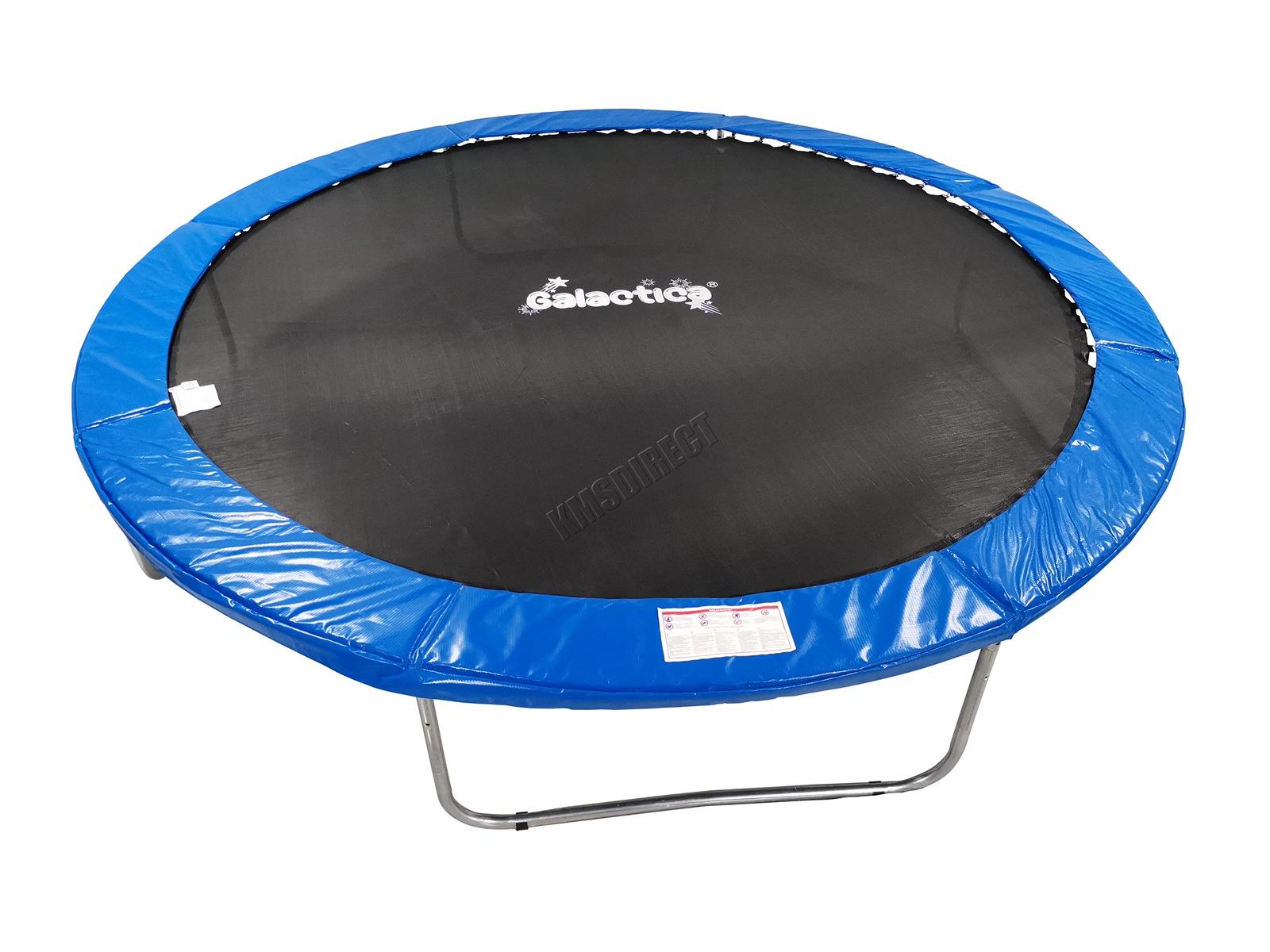 GALACTICA Trampoline Set 8 10 12 14FT Round Outdoor Garden Safety Net Enclosure Spring Jump Mat Rain Cover Padding Ladder Shoe Bag Blue