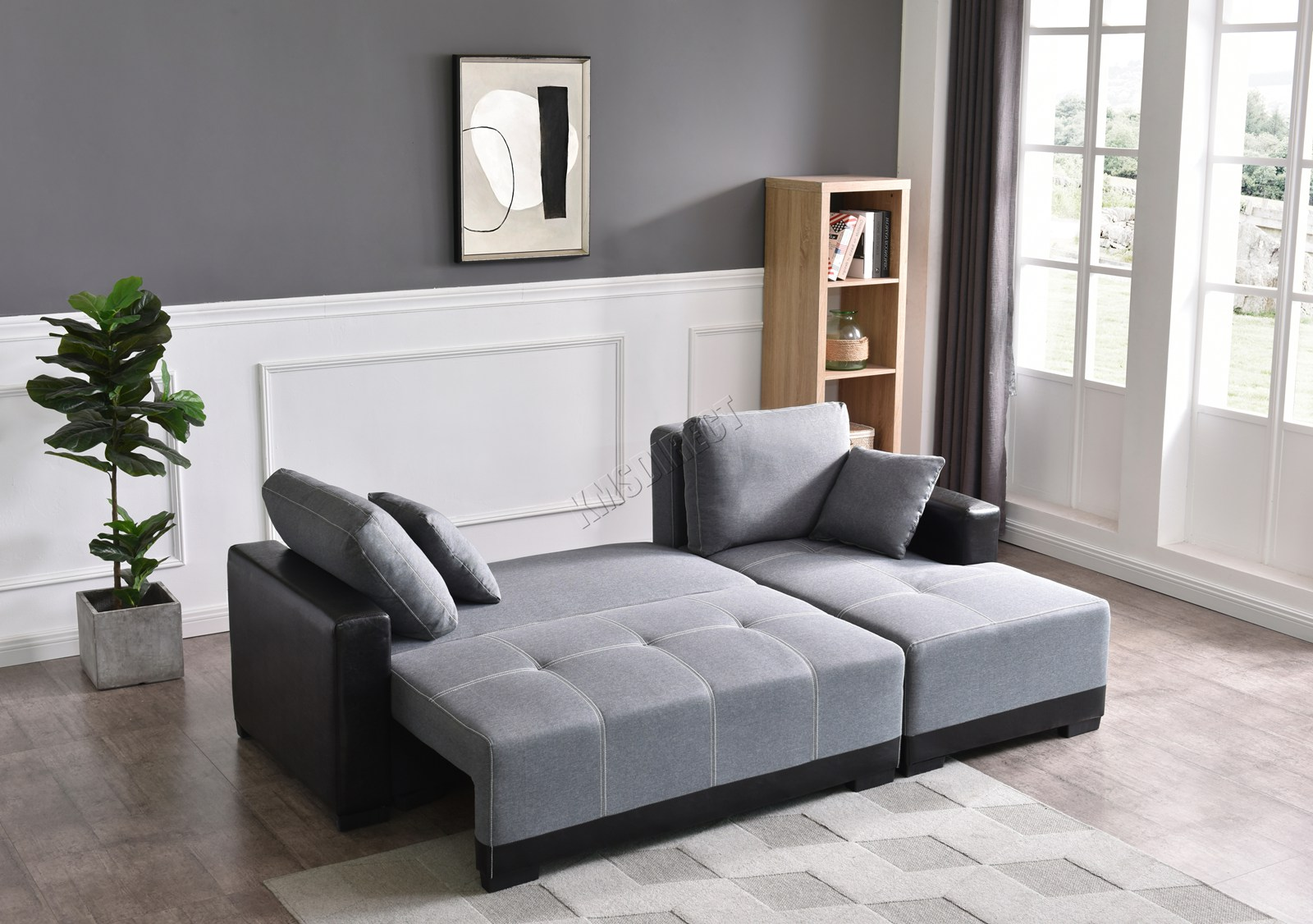 WestWood Sofa Bed With Under Seat Storage Fabric Faux ...