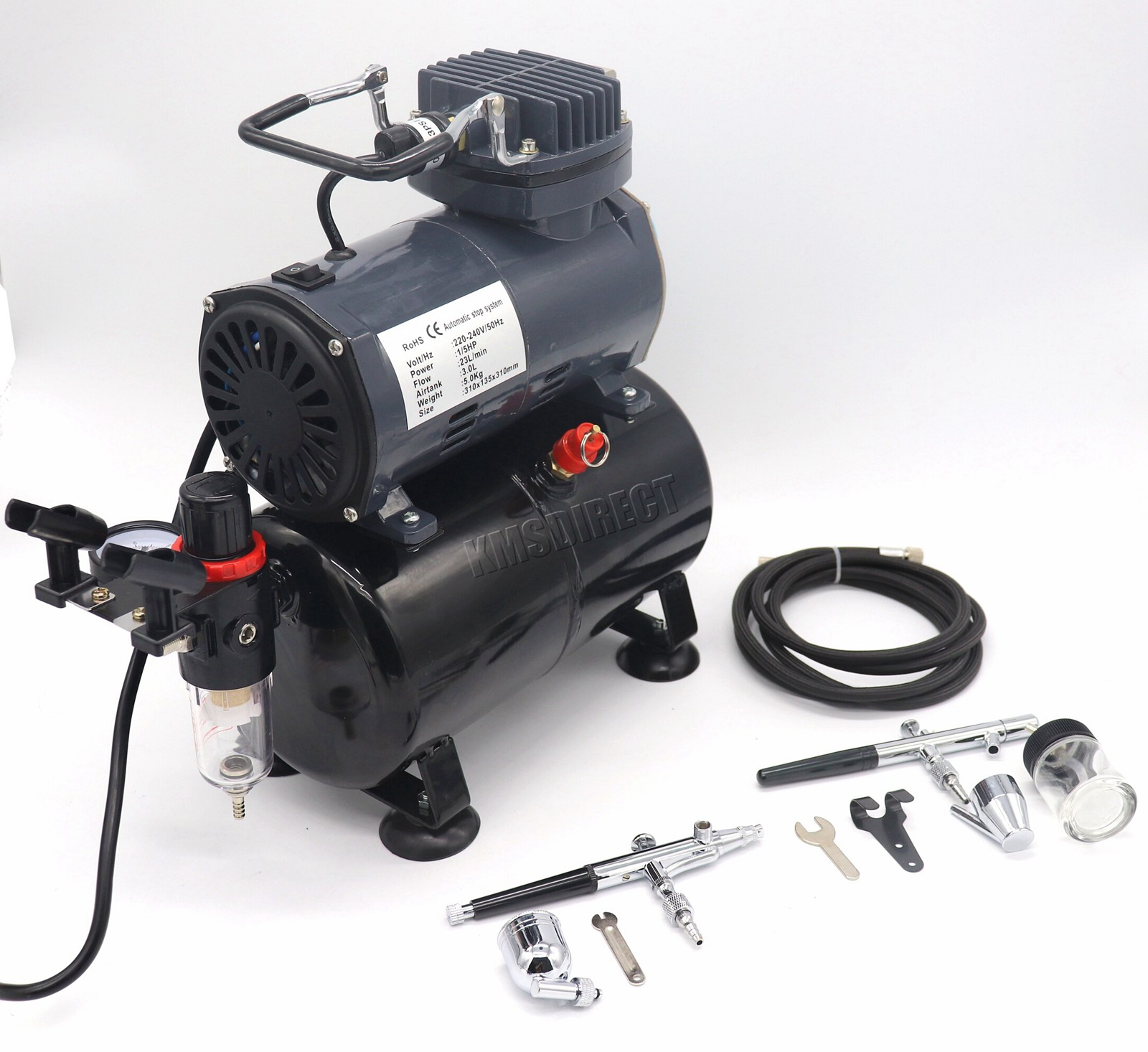 Details about Switzer Double Action Airbrush Kit + Compressor With Tank  AS186 Paint Nail Tatoo