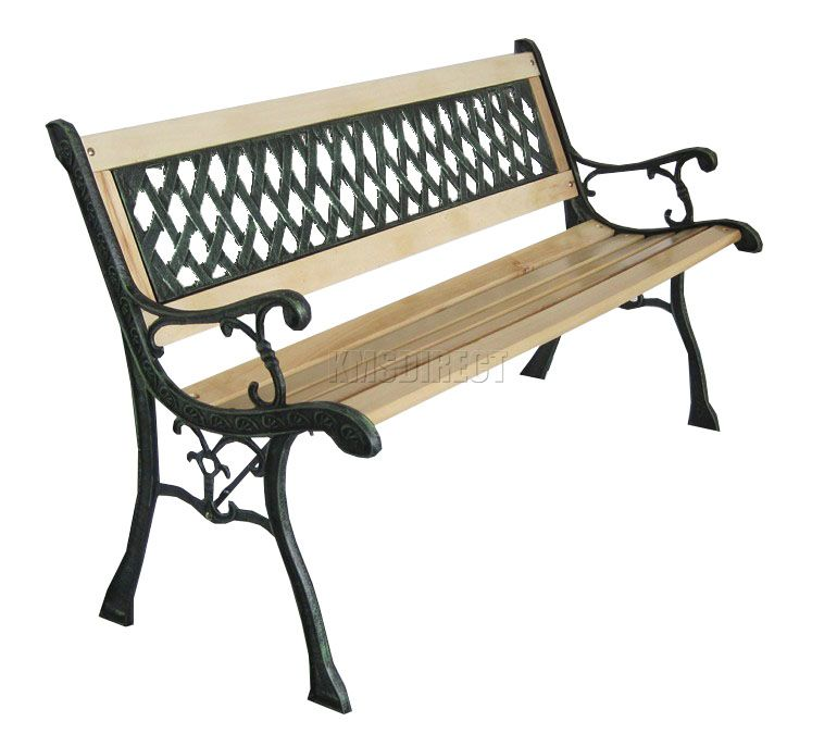 Foxhunter 3 Seater Wooden Slat Garden Bench Lattice Style Cast Iron Legs Park Ebay