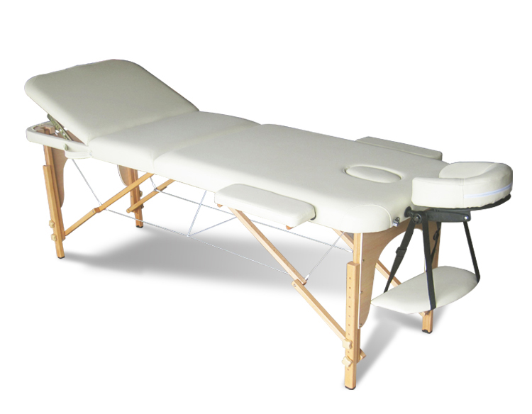 Beige portable massage table bed beauty therapy couch 3 for Beauty salon bed