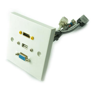 15cm Single HDMI, USB & VGA Female Wallplate to HDMI, USB & VGA Stub Cable-WHITE
