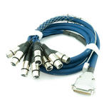 2m 25 Pin D SUB Male to 8 x XLR 3 Pin Female Sockets Multicore Cable Lead - BLUE