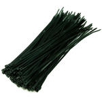 100 Pack of 300mm x 4.8mm Cable/ Lead Management Ties - BLACK