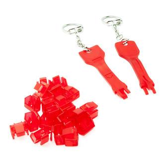 RJ45 Port Blocker Professional Kit - 2 Keys, 20 Locks - Prevent Data Theft - RED