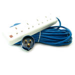 20m 66'ft 4 Gang Mains Extension to 16A Plug Commando Socket Adapter for Camping