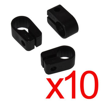 10 x Electrical Cable/ Lead/ Wire Cleats/Clips Size 7 Black