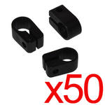 50 x Electrical Cable/ Lead/ Wire Cleats/Clips Size 7 Black