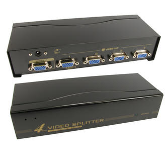 4 Port Way SVGA VGA Splitter Box Boosts Signal too