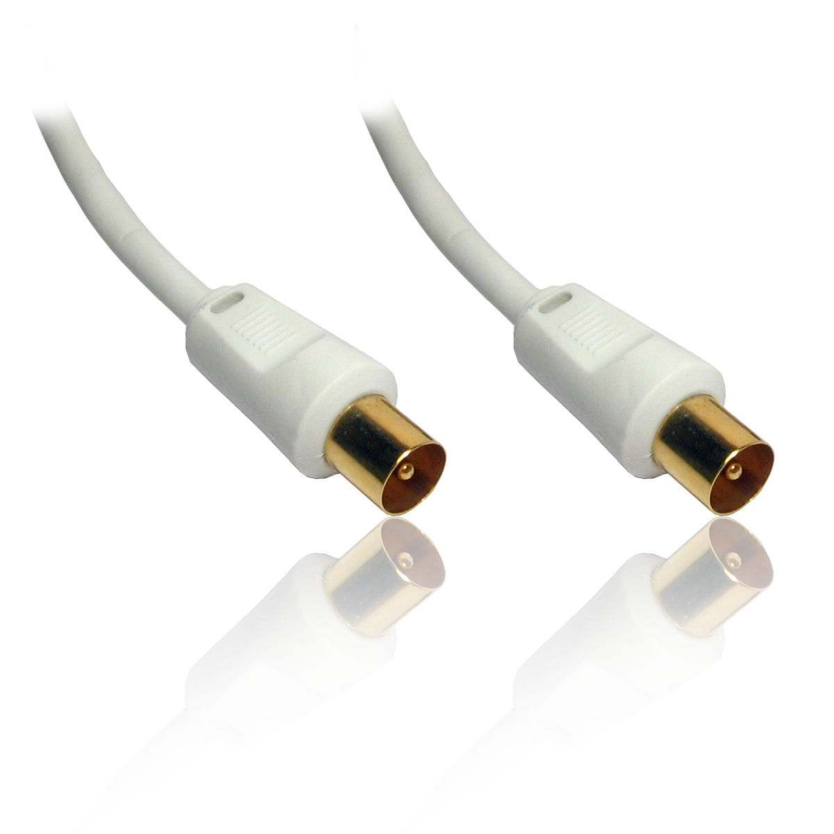 white coaxial coax tv tele aerial cable lead wire gold 10m 33 39 feet. Black Bedroom Furniture Sets. Home Design Ideas