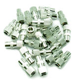 10 x Female Coax/ Coaxil TV Aerial Connector Plug for RF Cable/ Freeview - Metal