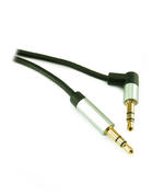 0.5m 3.5mm Slimline Stereo Jack Plug to 90 Degree Jack Plug Cable Lead - BLACK