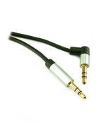 1m 3.5mm Slimline Stereo Jack Plug to 90 Degree Jack Plug Cable Lead - BLACK