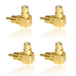 4 x Single RCA/ Phono 90 Degree/ Right Angle M-F Adapter GOLD Plated Multi Pack