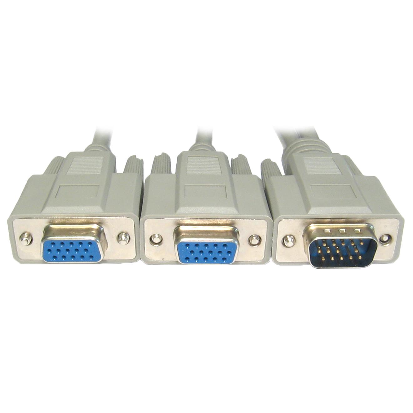 02m 20cm Pc Computer Monitor Svga Vga Y Splitter 2 Port Cable Lead Wire Converter Spliter Thumbnail