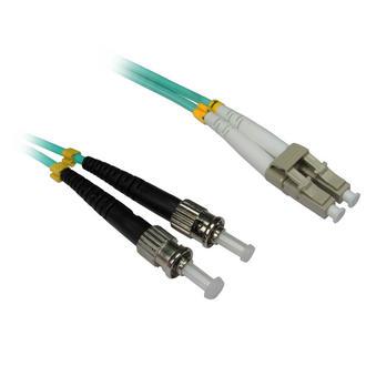 0.5m 50cm 1ft LC-ST 50/125 MMD OM3 Fibre Optic Cable - AQUA/ BLUE LSZH Low Smoke Zero Halogen