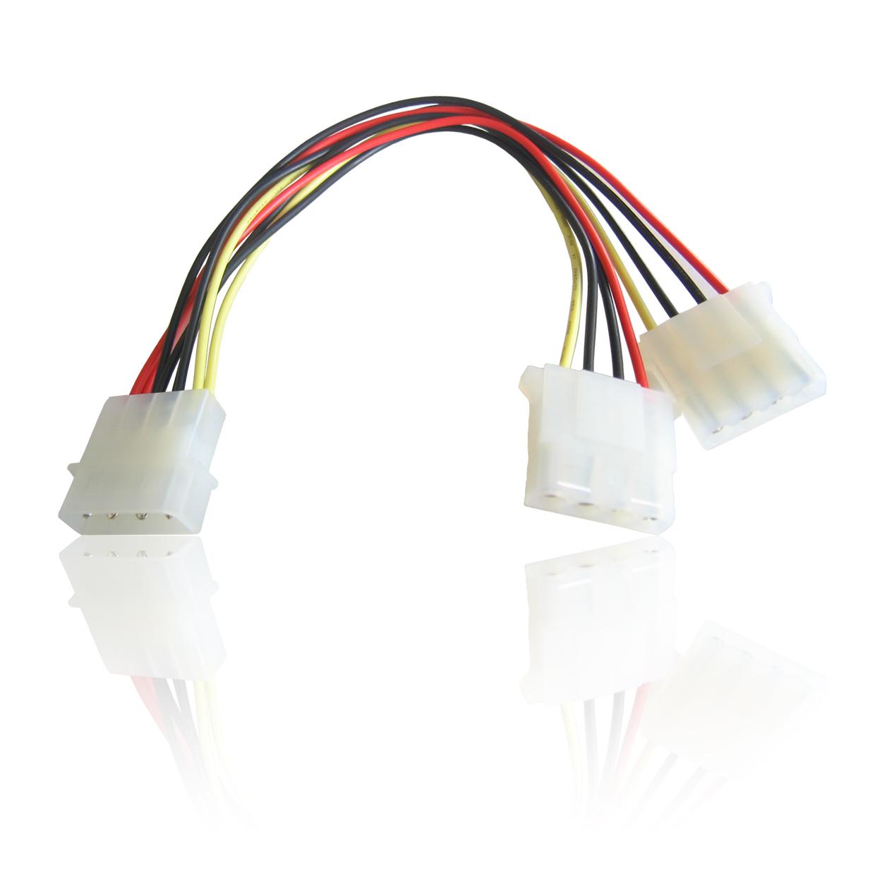 Molex 2 Way Twin Internal Power Y Splitter Power Cable