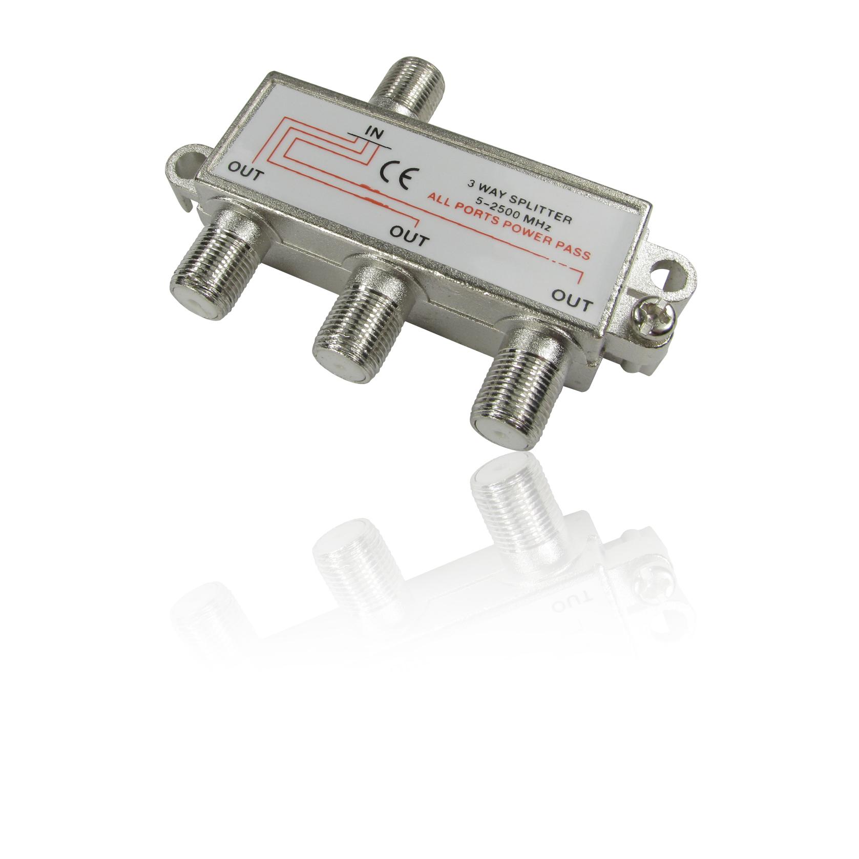 3 Way Cable Splitter : Way coax splitter f connector female digital tv