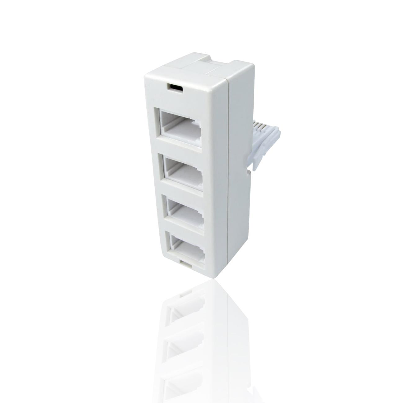 Uk Bt Telephone 4 Way Quad Adapter Splitter Modem Fax 4 X