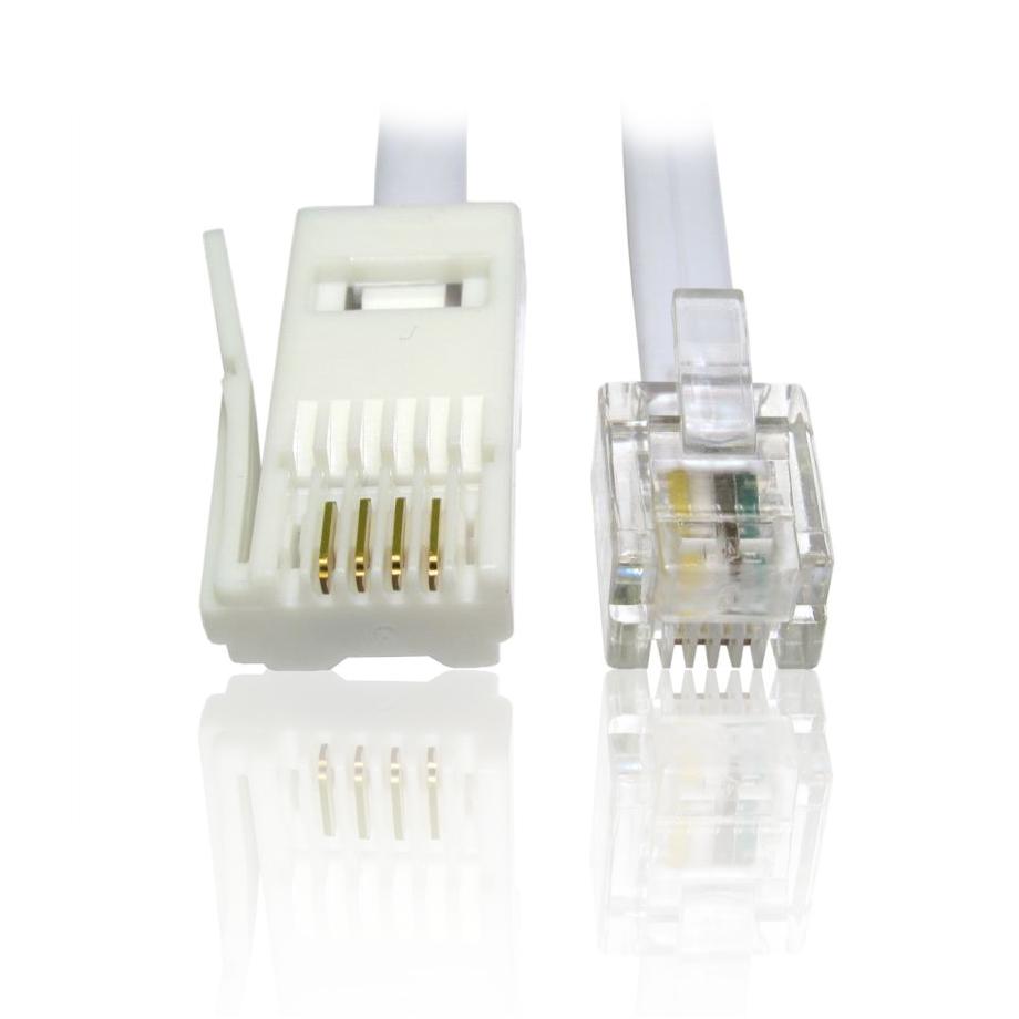 BT Plug to RJ11/RJ-11 Plug Voice/Fax Data Modem Cable/ Lead/ Wire 2m ...