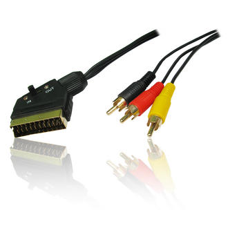 1.5m 5 feet SCART to 3 x RCA/Phono Audio/Video Cable/Lead/Wire Switchable Switch