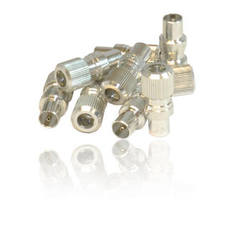 10 x Male Coax/ Coaxil TV Aerial Connector Plug for RF Cable/ Freeview - Metal