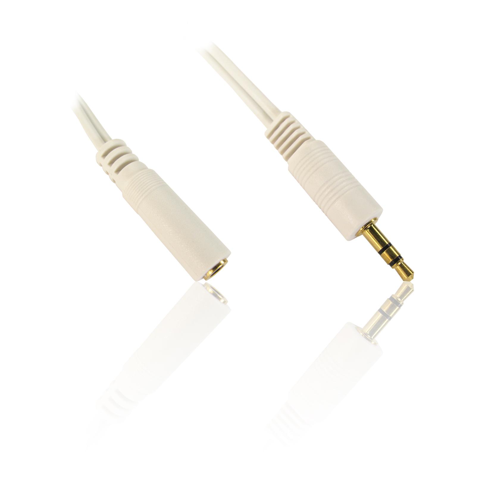 3 Plug Extension Lead : M feet mm stereo jack plug male to female socket