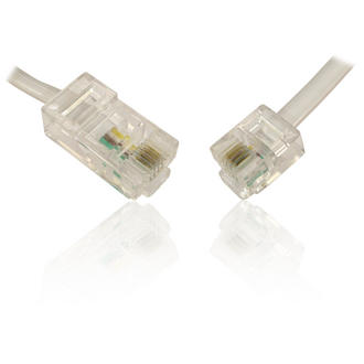 10m 33' RJ11 to RJ45 6P4C to 8P4C 4 Core Cable - WHITE