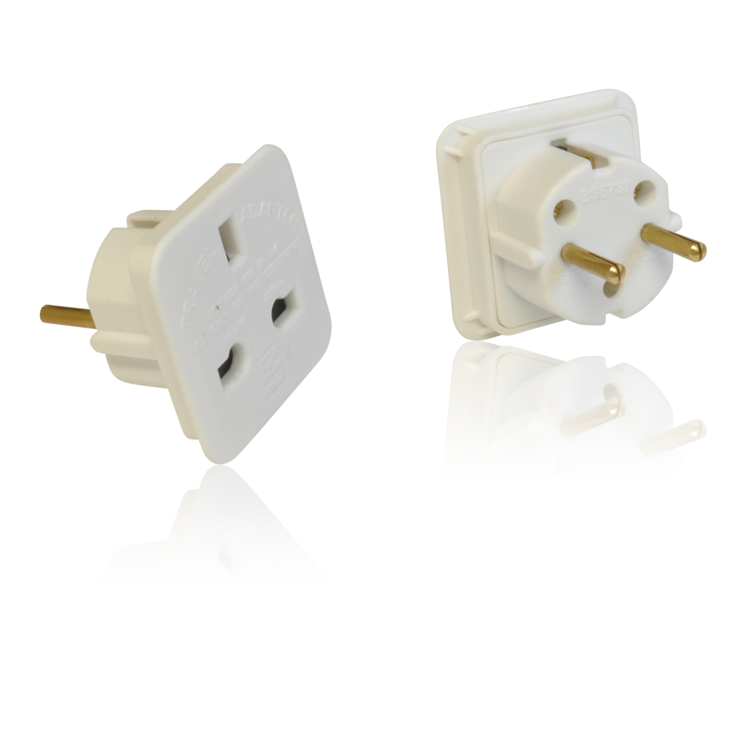 3 Pin Uk To 2 Pin Euro European Travel Mains Adapter
