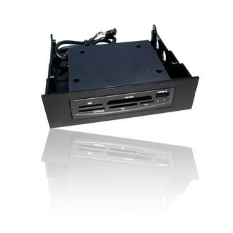 "Black Internal PC 5.25""/3.5"" Bay Card Reader Writer with USB 2.0 Port MMC SD MS"