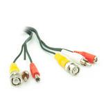 5m M-M Phono,M-M BNC & M-F DC Jack CCTV Power & AV Cable - BLACK