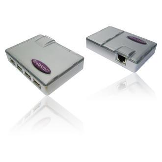 USB 4 Port Extender Hub over Cat5e / Cat 6 Network/ Ethernet Cable - 45m Range