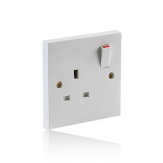 1 Gang Single Switch Socket 13A - White