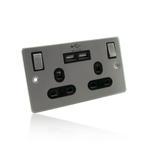 2 Way/ 2 Gang UK Mains Power & Twin 2 Amp USB Socket/Wall Plate - Brushed Chrome