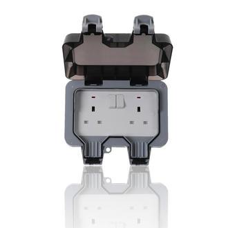 2 Way Outdoor Garden IP66 Rated UK Mains 3 Pin 240v Plug Socket- 2 Gang Switched
