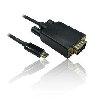 1m 3'ft Leaded USB Type-C to VGA Male 1080p@60Hz Adapter Converter - BLACK