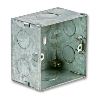 Single Electrical Metal Deep Back Box/ Pattress Box 47mm Deep - 1 Gang