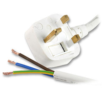 2m 3 Pin UK Plug to Unterminated Bare Raw Ends Mains Power 1.5mm2 Cable - WHITE