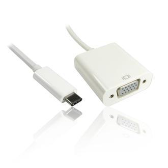 15cm Leaded USB3.1 Type-C to VGA Female Adapter Converter - WHITE