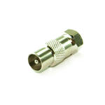 TV Coaxil Male to Satellite F-Connector Male Adapter Converter Joiner - NICKEL