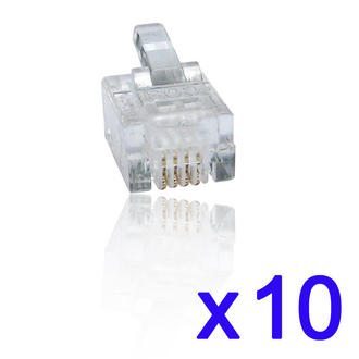 10 Pack 6P4C RJ11 RJ-11 Cable Crimp Plug-Ends/ Plugs 6P 4C Modular Connector