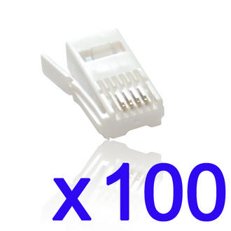 100 Pack of BT Crimp Plugs Ends 6P4C- For use on UK Phones/Telephone Cables x100