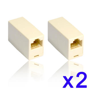 2 x RJ45 Couplers Gender Changer Join 2 Cat5e Network Patch Cables Twin Pack