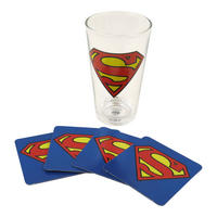 Superman Logo Glass & 4 Beer Mat Coasters Thumbnail 1