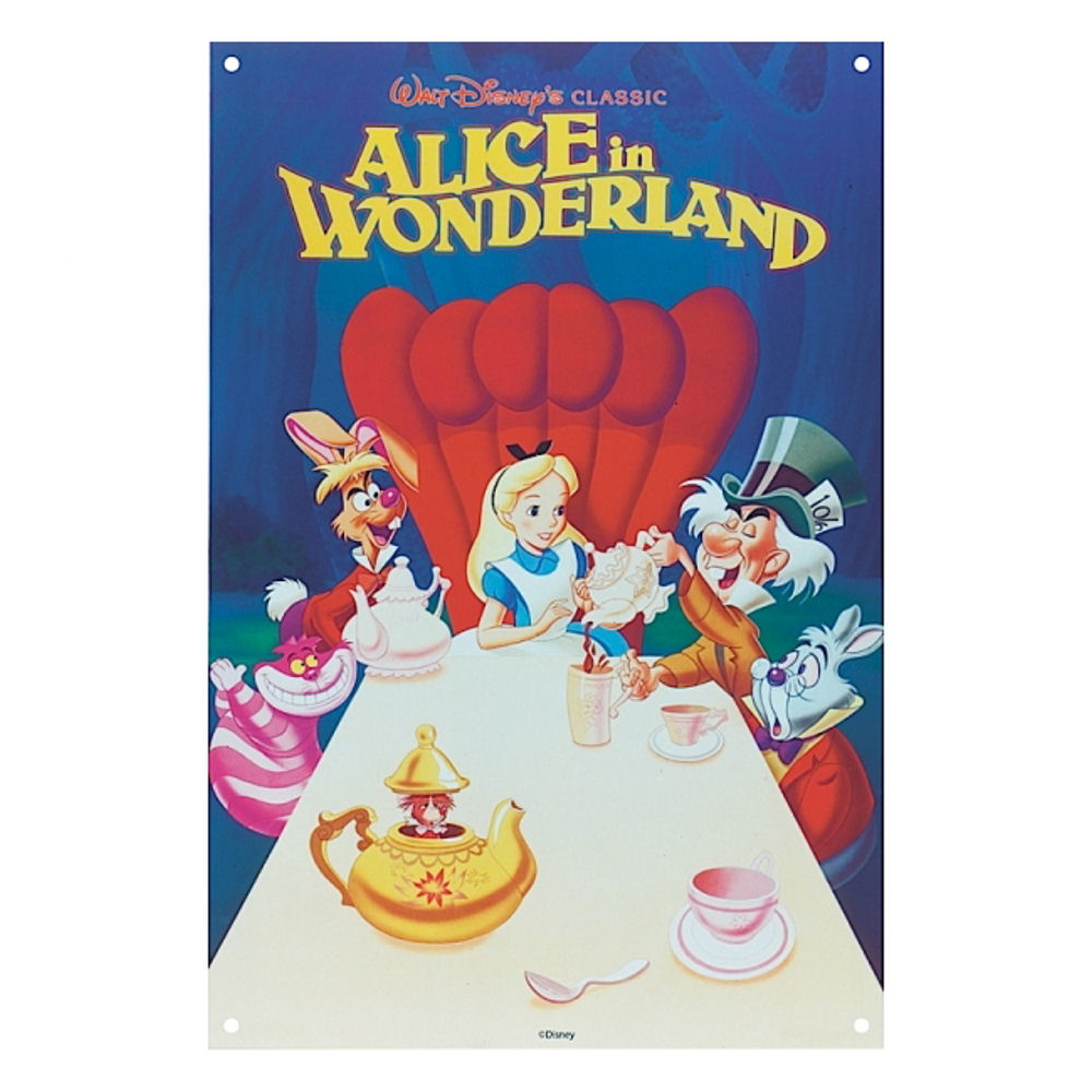 Alice In Wonderland Disney Classic Film Poster Large Steel Sign