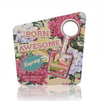 "Bev Ridge & Friends ""Born Awesome"" Metal Keyring Thumbnail 2"