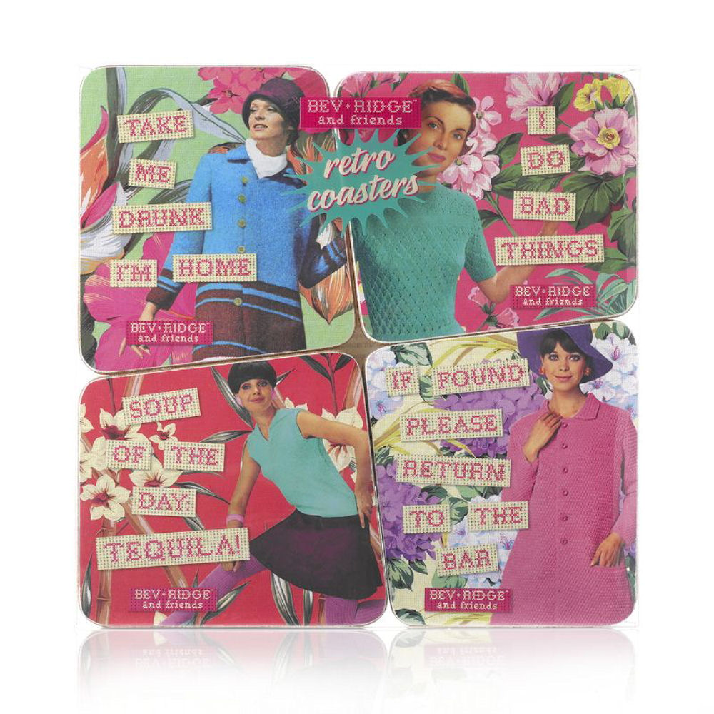 "Bev Ridge & Friends ""Take Me Drunk I'm Home"" Coaster Set"