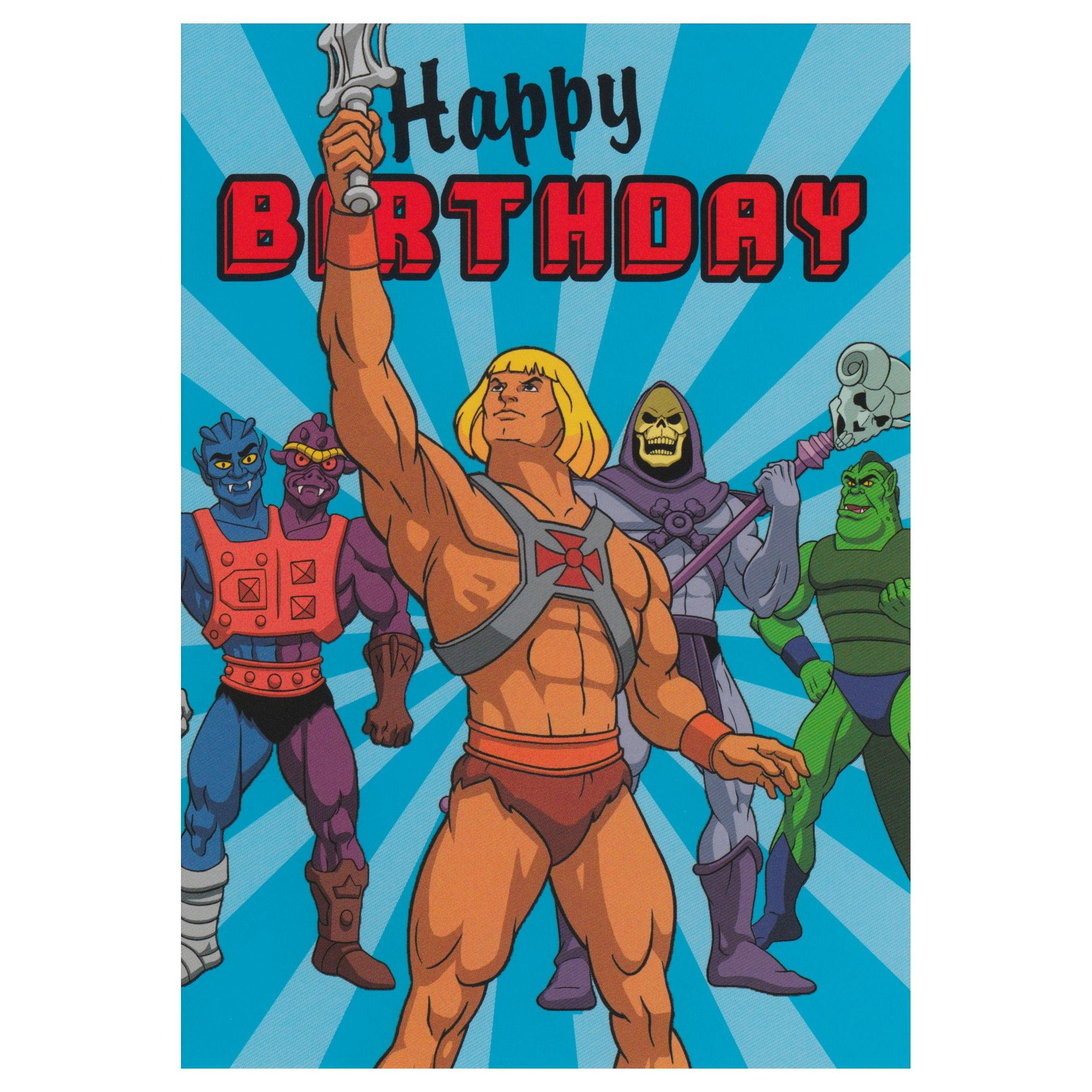 He Man Happy Birthday Greeting Card Retro Blank Skeletor Masters Of
