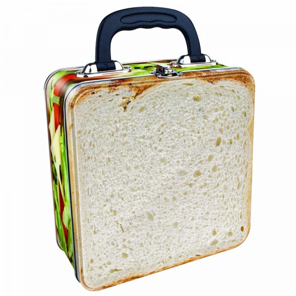Metal Lunch Tin Part - 22: CHEESE U0026 TOMATO SANDWICH TIN TOTE METAL LUNCH BOX NOVELTY BREAD SALAD  STORAGE