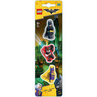 Set of 3 Lego Batman Erasers Featuring Batman, Batgirl & Harley Quinn